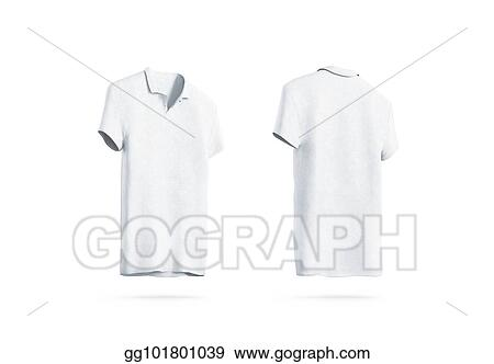 Stock Illustrations - Blank white polo shirt mockup isolated, front