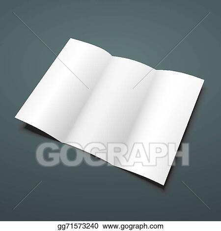 Vector Stock - Blank white tri fold vector brochure template Stock