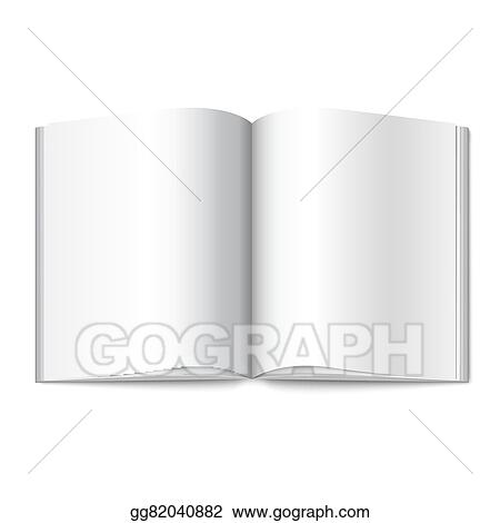 EPS Illustration - Blank white vector opened book, magazine or photo - opened book