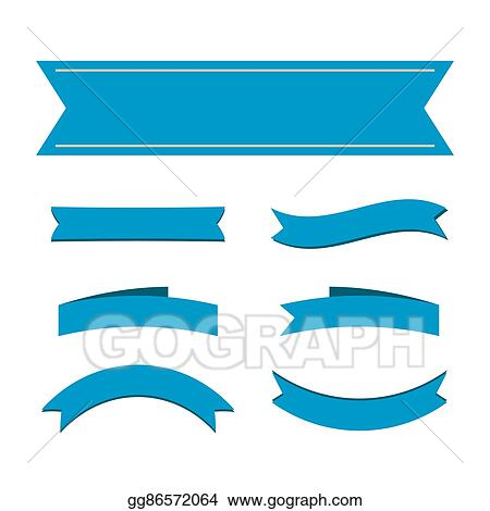 EPS Illustration - Blue ribbon banners set Vector Clipart