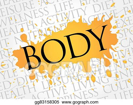 Vector Art - Body word cloud, fitness, sport Clipart Drawing