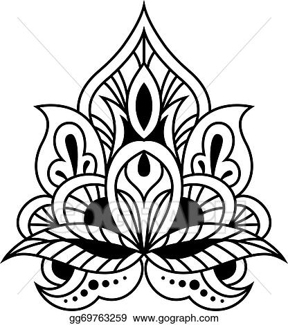 EPS Vector - Bold black and white floral persian design Stock