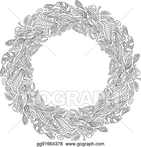 EPS Illustration - Bridal wreath of forest poppies flowers wild