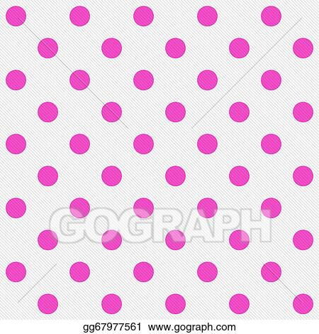 Stock Illustrations - Bright pink polka dots on white textured