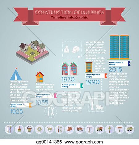 Vector Clipart - Building construction timeline infographic Vector