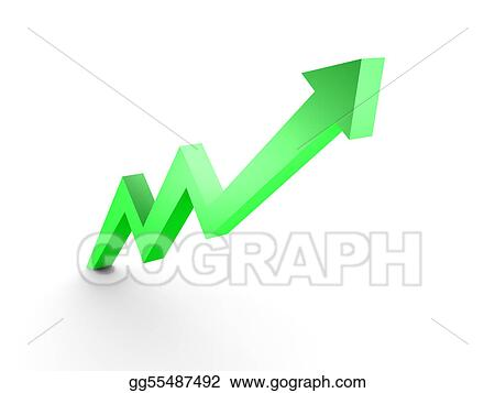 Drawing - Business graph, 3d rendered conceptual arrow chart