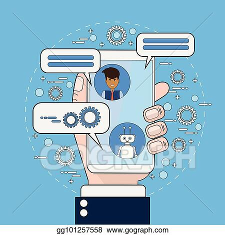 EPS Illustration - Business man communicating with chatbot using
