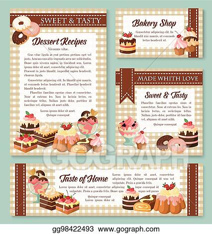 EPS Illustration - Cake and bakery shop banner with pastry desserts