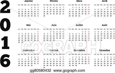 Vector Clipart - Calendar 2016 year on french language, a4 sheet
