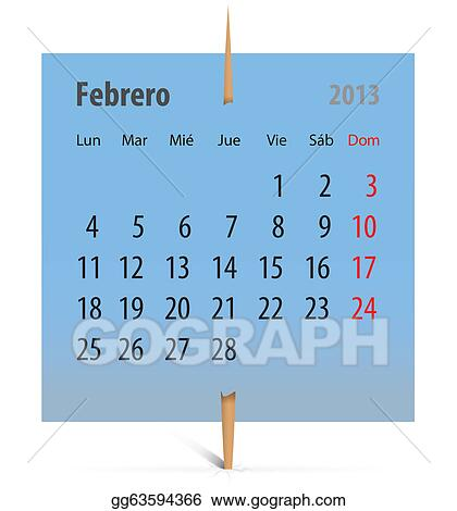 Vector Illustration - Calendar for february 2013 in spanish EPS