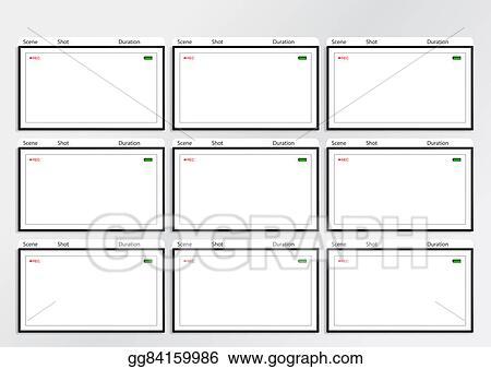 Stock Illustration - Camera viewfinder storyboard template 9 frame