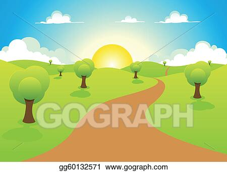 Vector Art - Cartoon spring or summer landscape Clipart Drawing