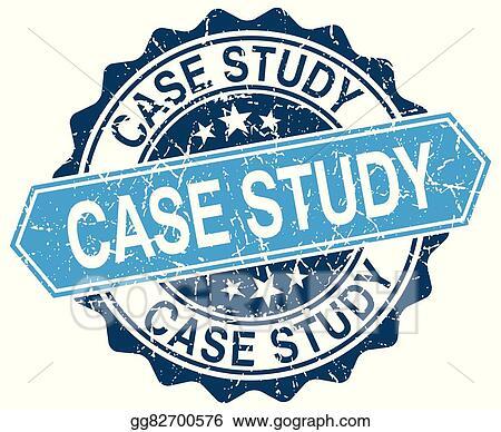 Clip Art Vector - Case study blue round grunge stamp on white Stock - studyblue