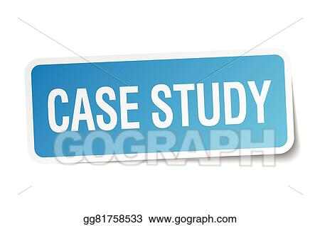 Vector Stock - Case study blue square sticker isolated on white