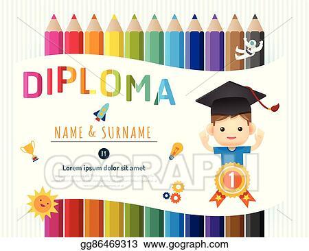 Kindergarten Graduation Certificate Template Math Border Stock