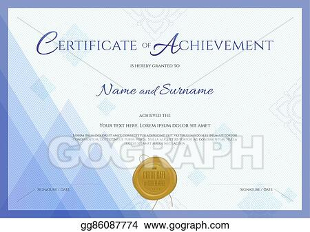 Vector Illustration - Certificate of achievement template with blue