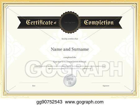 Vector Illustration - Certificate of completion template with