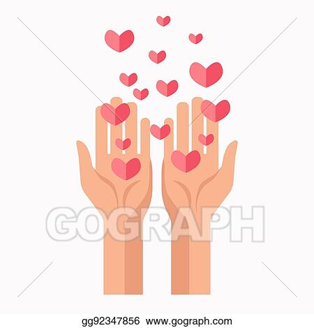 Vector Clipart - Charity hands and hearts blood donation vector