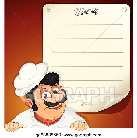 Vector Illustration - Chef with blank menu Stock Clip Art
