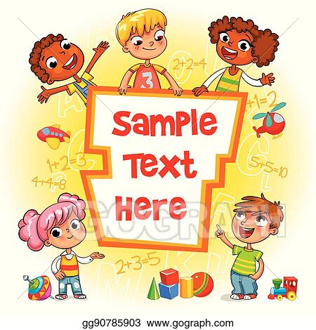 Vector Stock - Children book cover kid pointing at a blank template