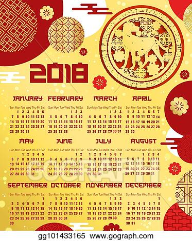 EPS Illustration - Chinese new year calendar template with zodiac