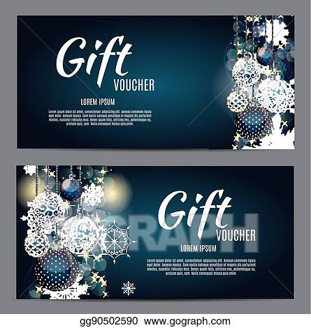 EPS Vector - Christmas and new year gift voucher, discount coupon