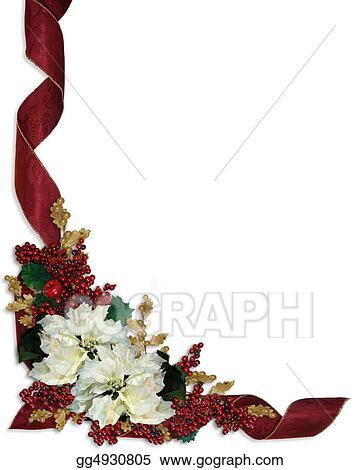 Stock Illustrations - Christmas border white poinsettias Stock