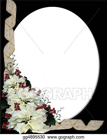 Stock Illustration - Christmas white poinsettia frame on Stock Art