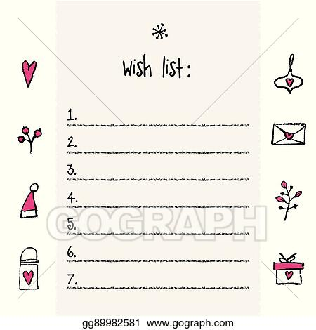 Vector Illustration - Christmas wish list template hand drawn