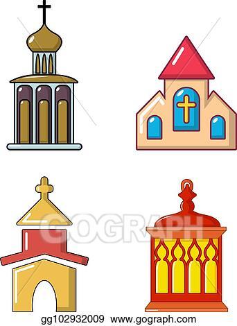 Vector Illustration - Church icon set, cartoon style Stock Clip Art