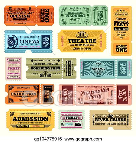 EPS Vector - Circus, party and cinema vector vintage admission