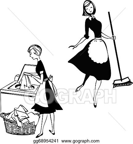 Vector Stock - Cleaning ladies Clipart Illustration gg68954241