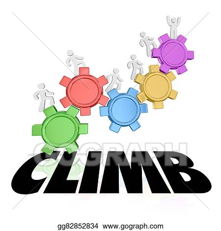Drawing - Climb people rising up increase higher success word