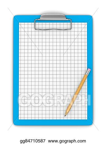 Clip Art - Clipboard with pencil and blank graph paper Stock