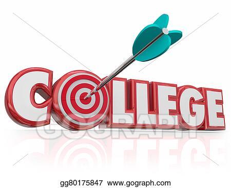 Clipart - College arrow target word school university degree Stock