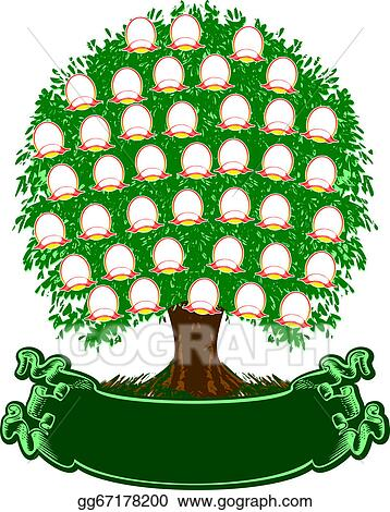 Vector Clipart - Color family tree portraits are separated vector