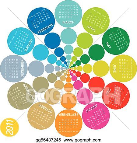 EPS Illustration - Colorful circular calendar 2011 Vector Clipart - circular calendar