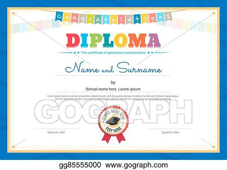 Vector Stock Colorful Diploma Certificate Template For Kids