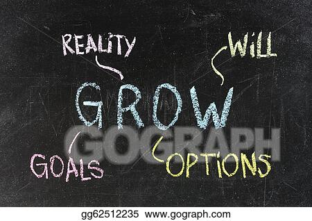 Clipart - Conceptual grow acronym written on black chalkboard - chalkboard writing template