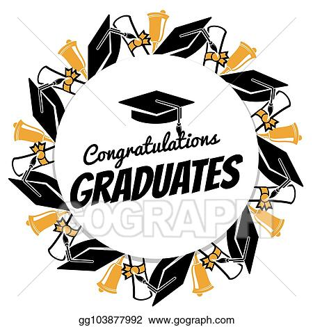 Vector Stock - Congrats graduates round banner with students
