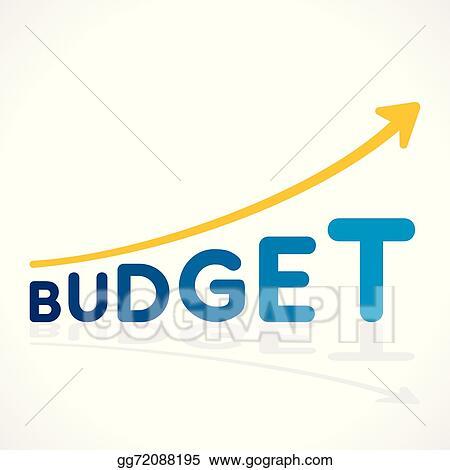 Clip Art Vector - Creative budget word growth graph  Stock EPS
