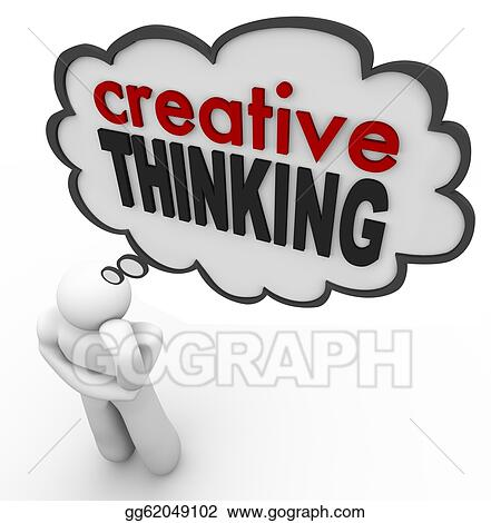 Drawings - Creative thinking person thought bubble brainstorm idea