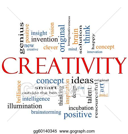 Stock Illustrations - Creativity word cloud concept Stock Clipart