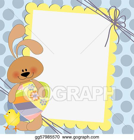 EPS Vector - Cute template for easter postcard Stock Clipart