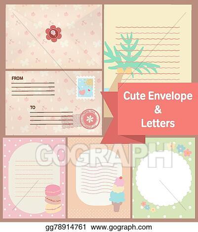 Vector Illustration - Cute vintage pastel letters and envelope paper