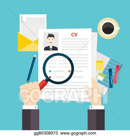 Vector Clipart - Cv resume job interview concept writing a resume