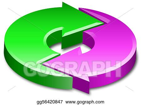 Stock Illustration - Cycle process circle arrows 3d Clip Art