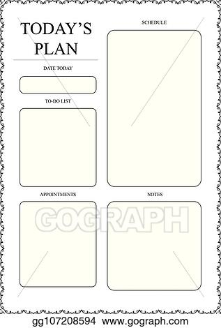 Vector Art - Daily planner template ready for print with space for