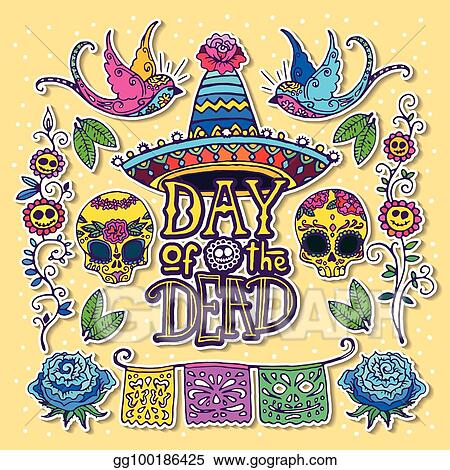 Vector Art - Day of the dead design template Clipart Drawing