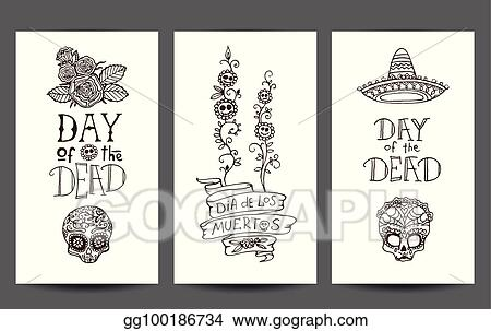 Vector Stock - Day of the dead set of 3 design templates Clipart